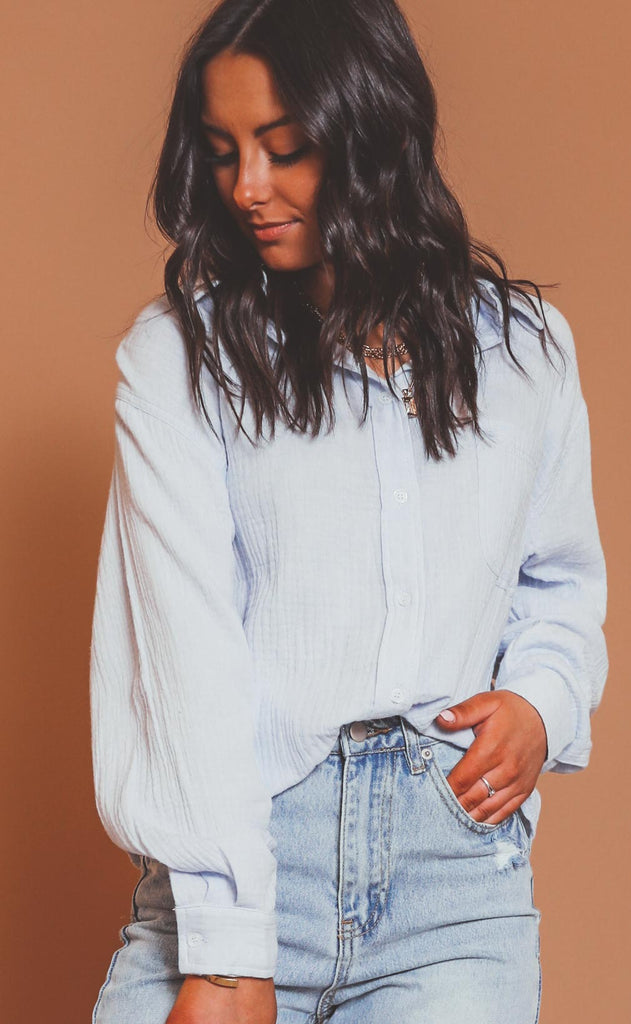 keep it classic button down top - light blue