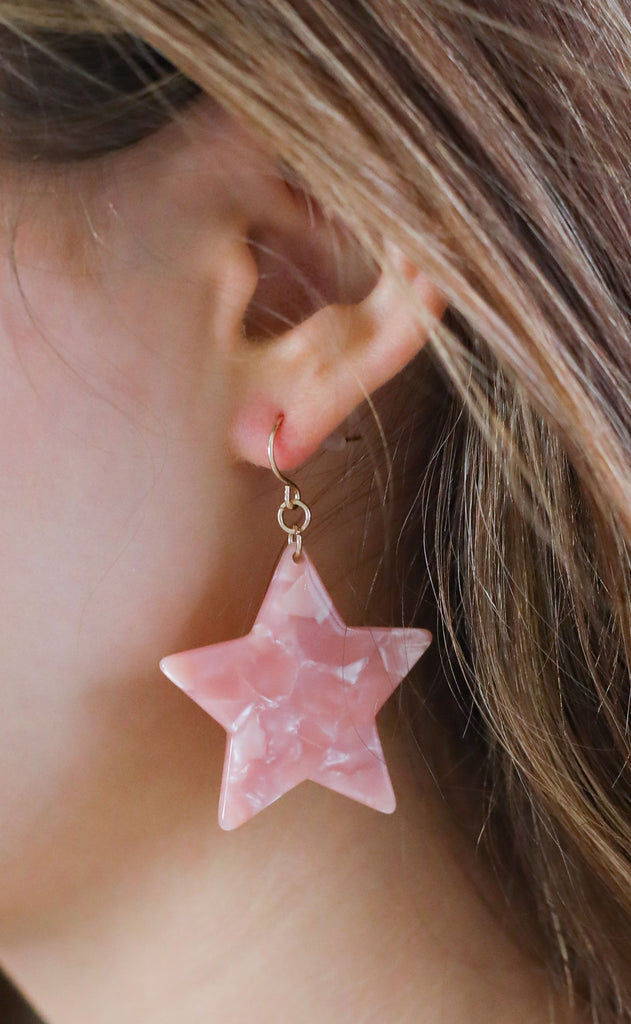 dallas star dangle earrings - pink tortoise