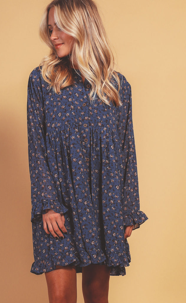 midnight floral babydoll dress