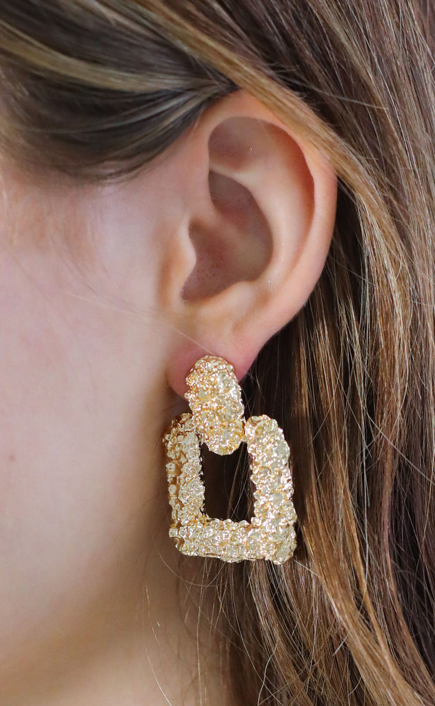 textured square statement earrings