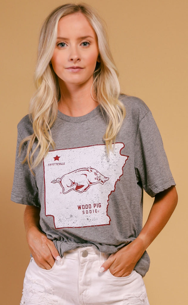 charlie southern: woo pig sooie state t shirt