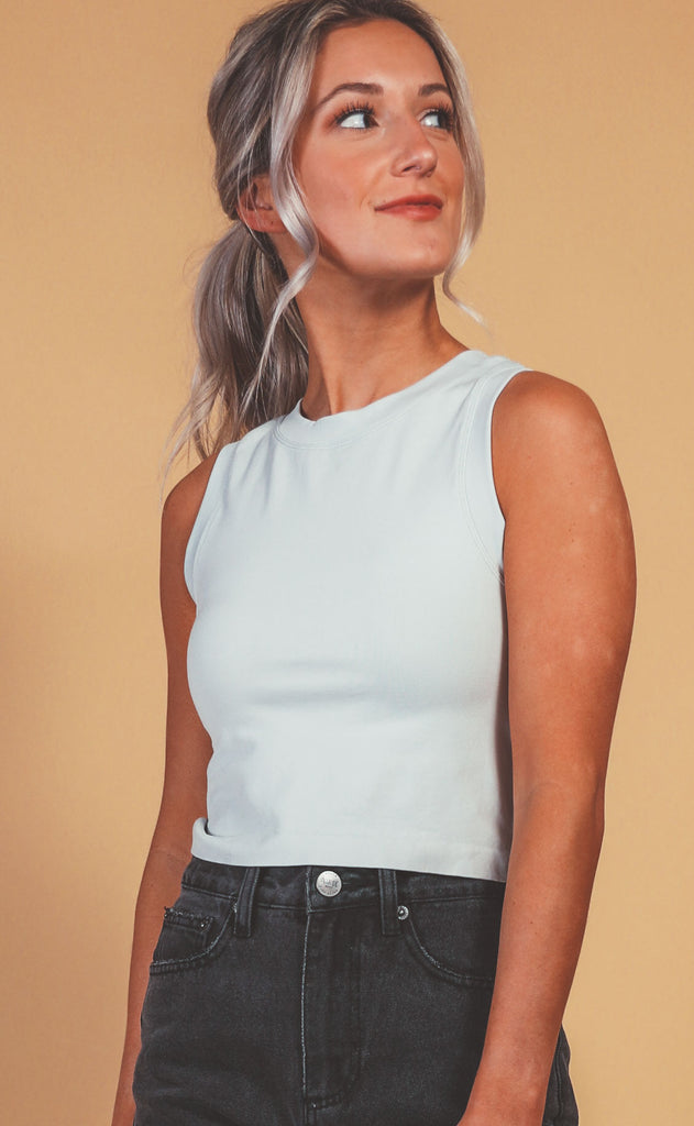 muscle tank crop - light grey