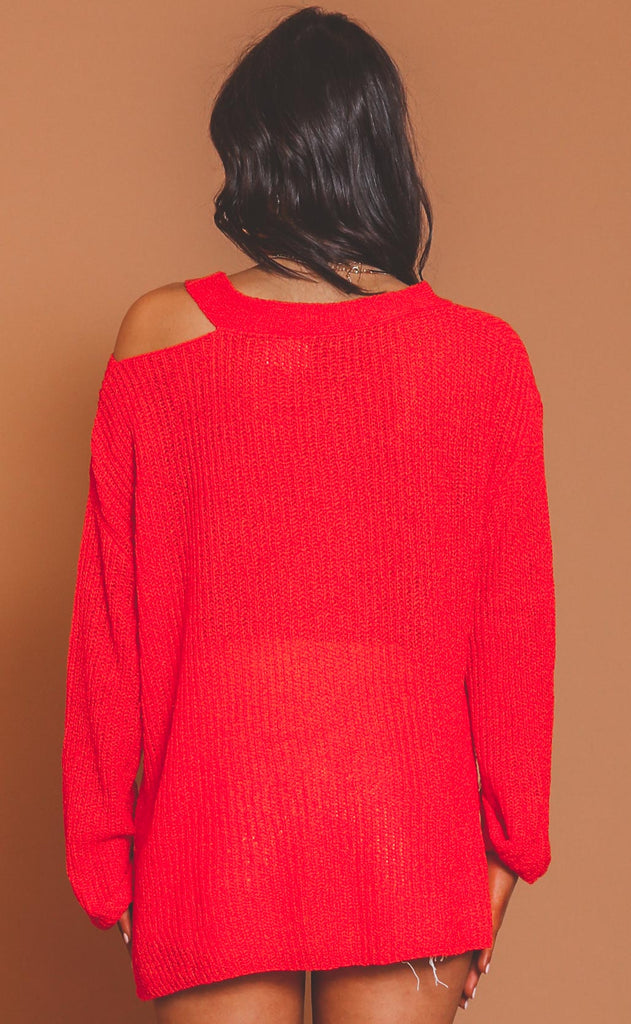 on edge cutout sweater - red