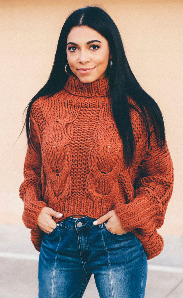 let's snuggle chunky sweater - rust