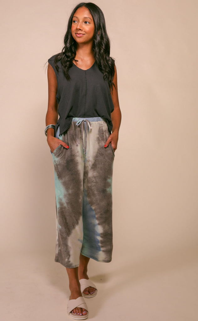 fruity tie dye pants - blue charcoal