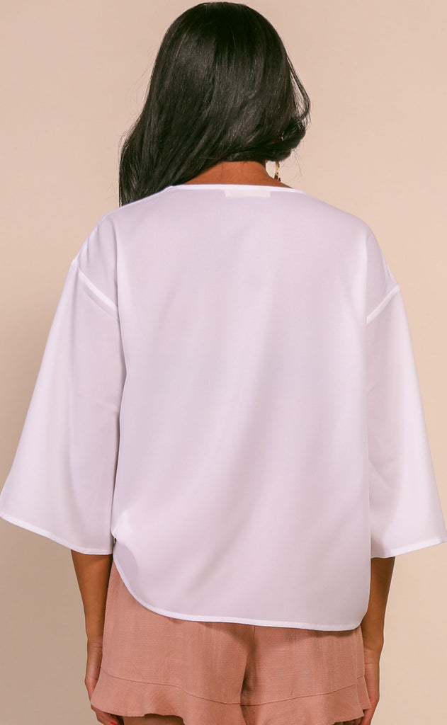 modern muse woven blouse - white