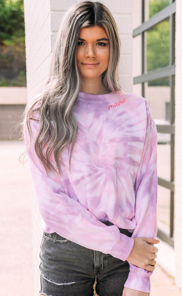 mama tie dye sweatshirt - purple
