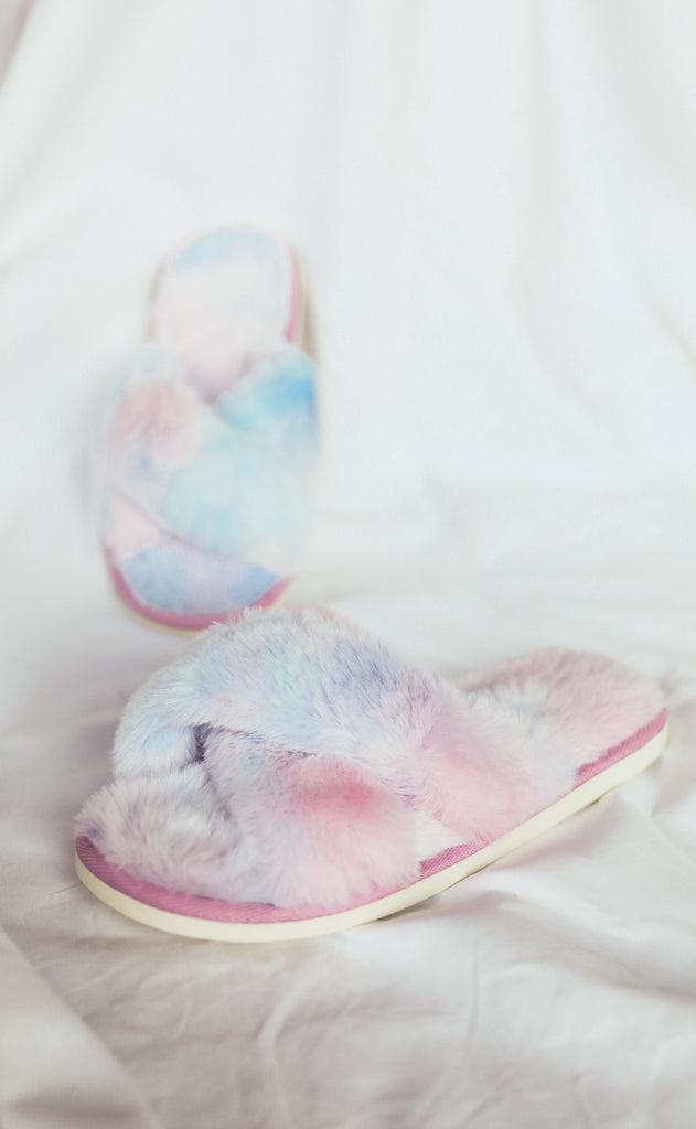 cozy up fur slippers - purple/blue