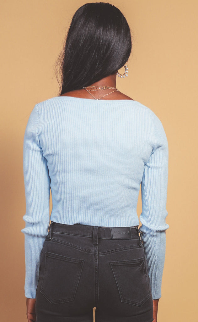 pretty in pearls ribbed top - pale blue