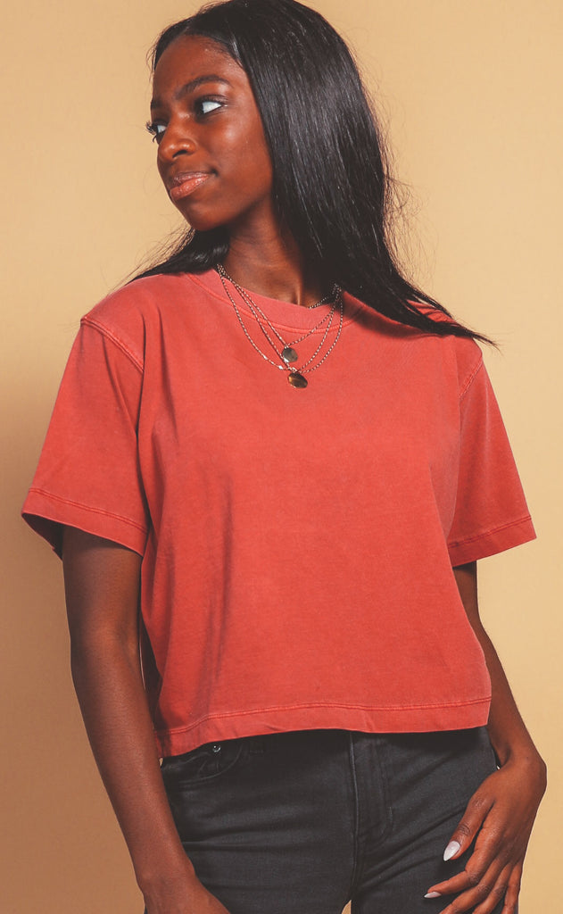 richer poorer: relaxed short sleeve crop - red velvet