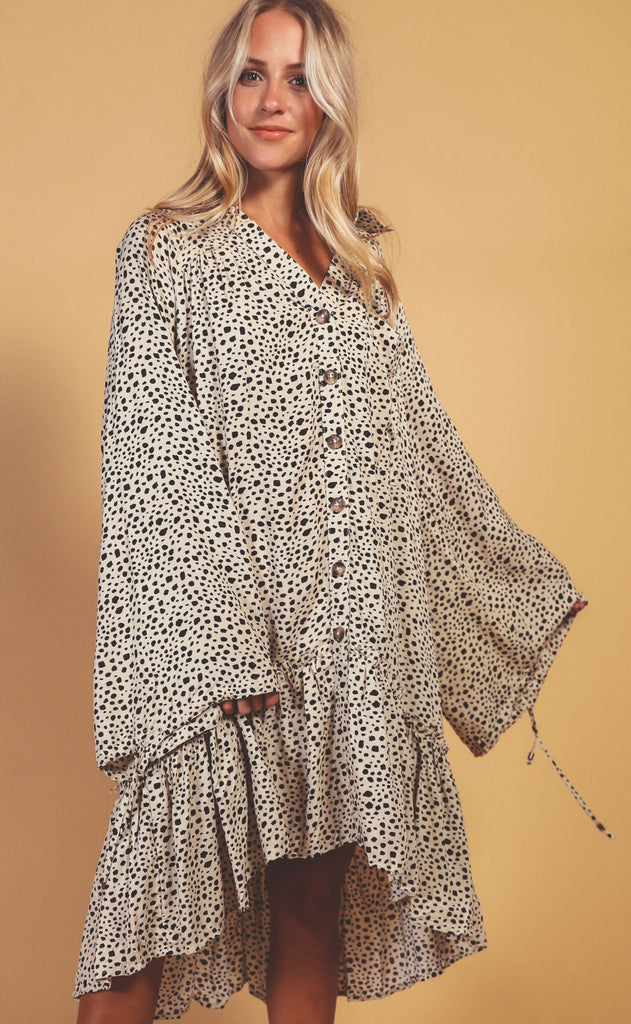 stay wild printed dress - ivory