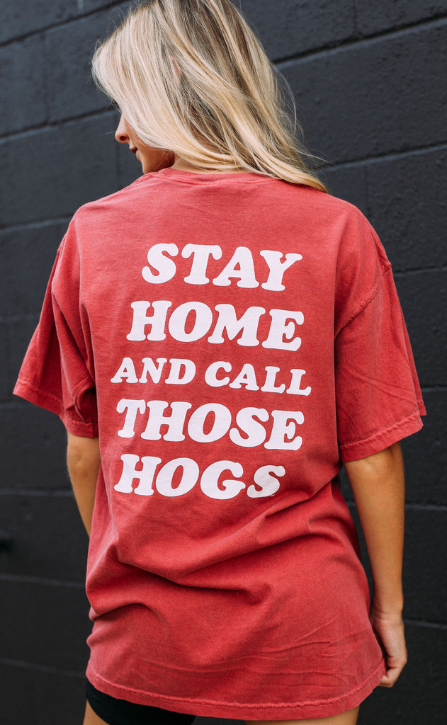 charlie southern: stay home and call those hogs t shirt