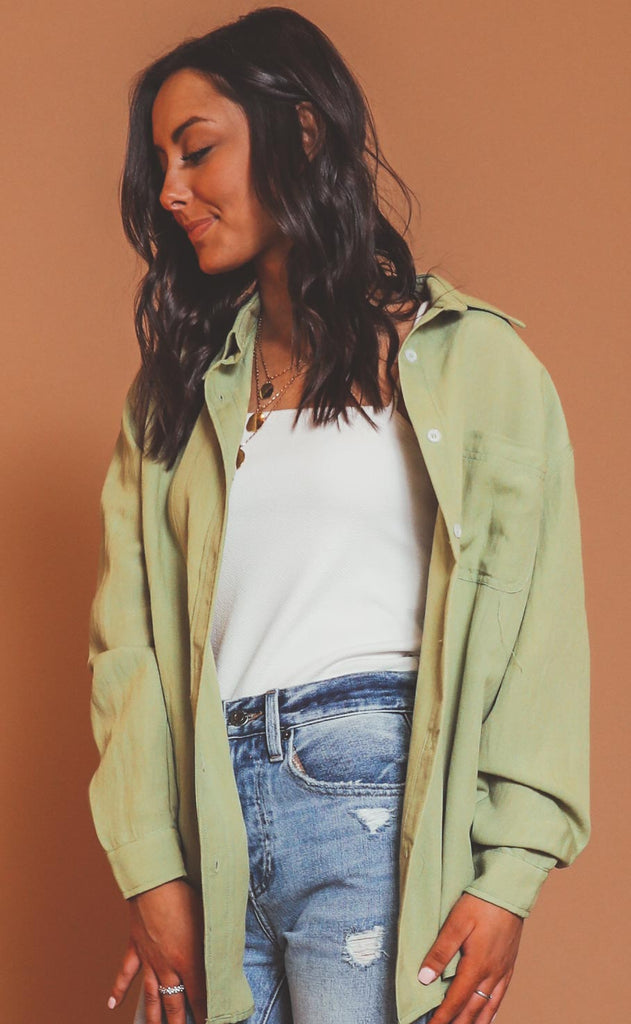 anything but basic button down top - sage