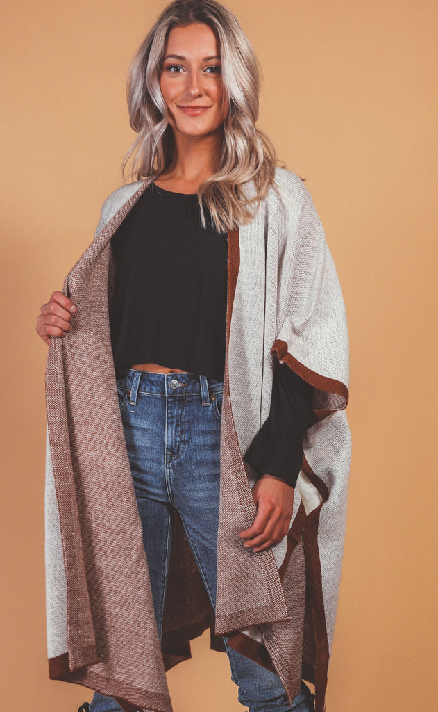 two toned poncho sweater