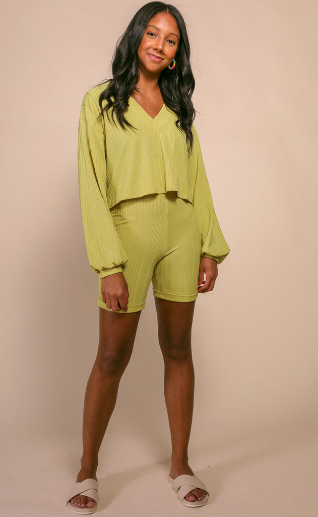 dynamic duo two piece set - misted yellow