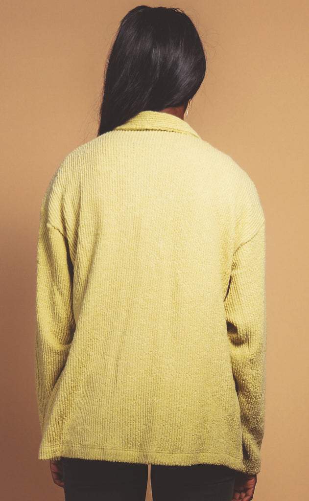 joshua tree corduroy button up - chartreuse