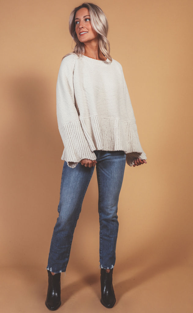 love like this relaxed sweater - ivory