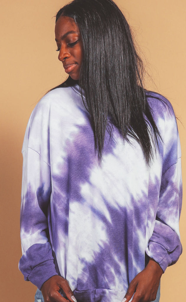 sarah tie dye sweatshirt - purple