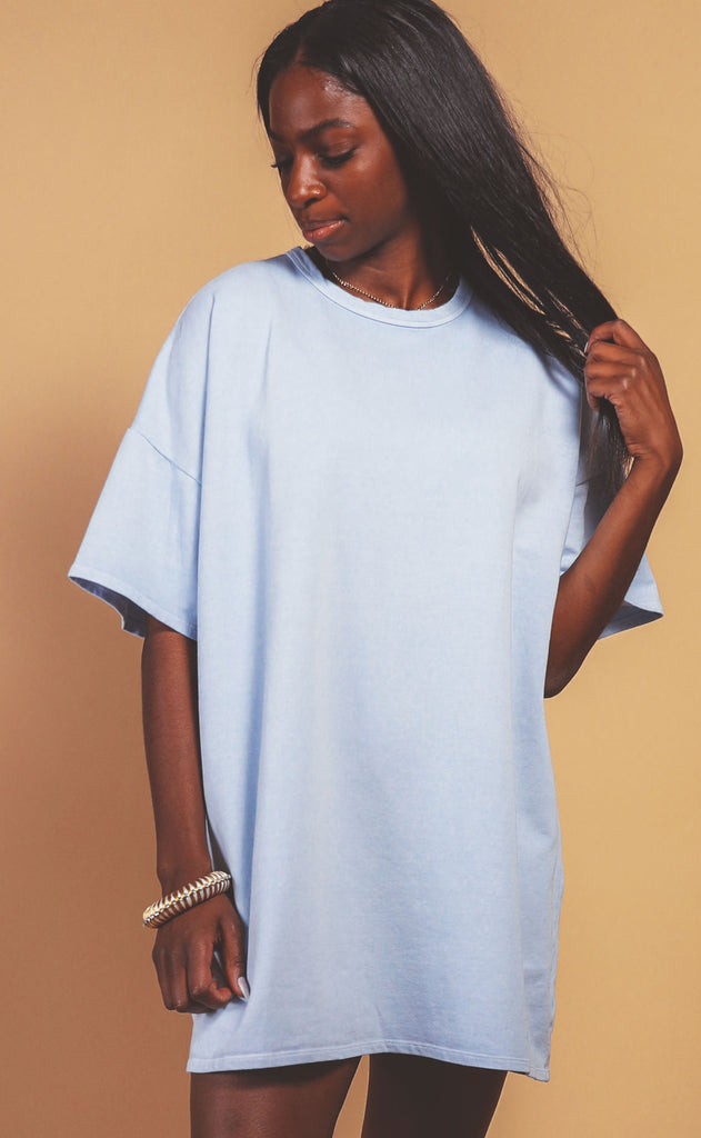 just chillin tunic dress - light blue