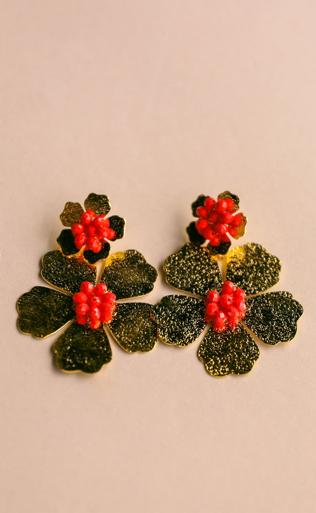 treasure jewels: double daisy earrings - red