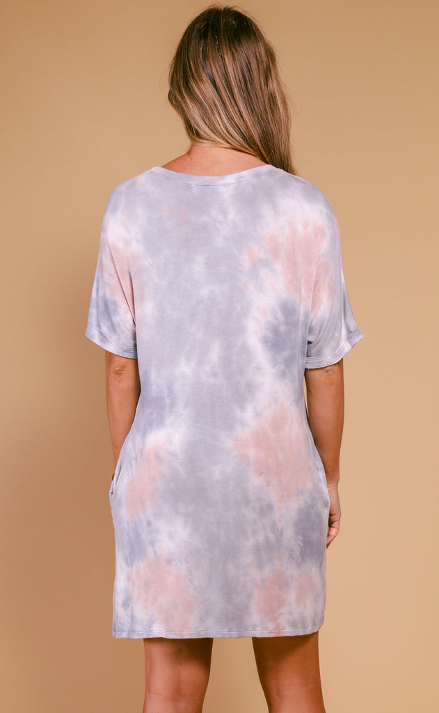 hannah side pocket tie dye tunic - grey