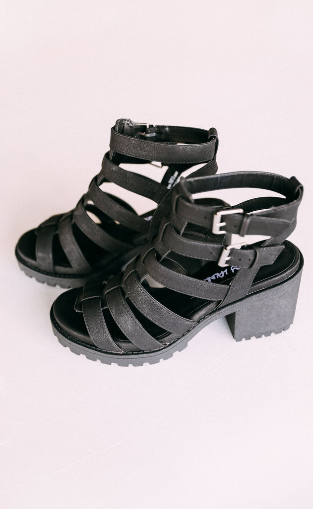 fun stuff strappy heel - black