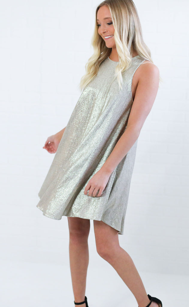 times square swing dress - gold