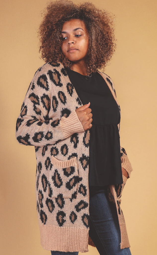 spotted leopard chic knit cardigan - extended