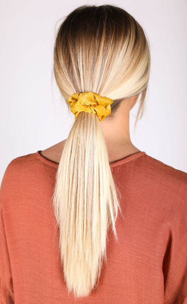 silky scrunchie duo - mustard