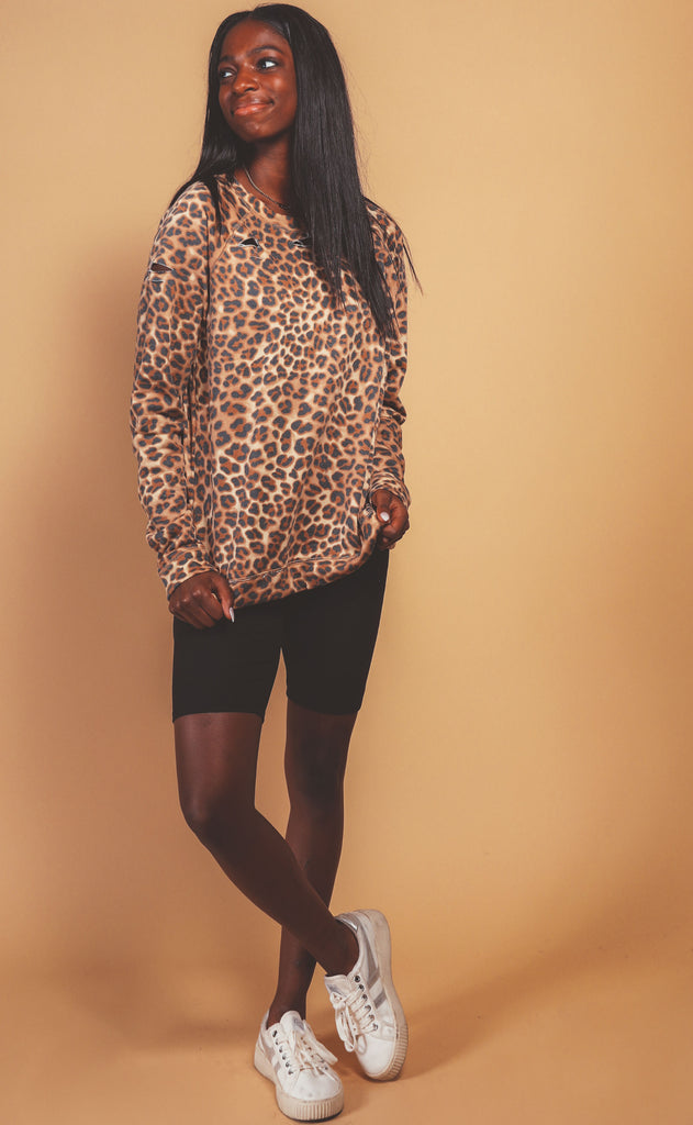 leopard love printed sweatshirt