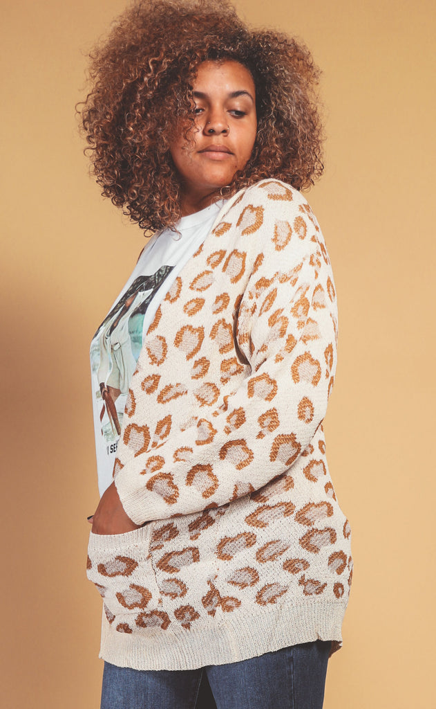 stay cozy beige leopard cardigan - extended