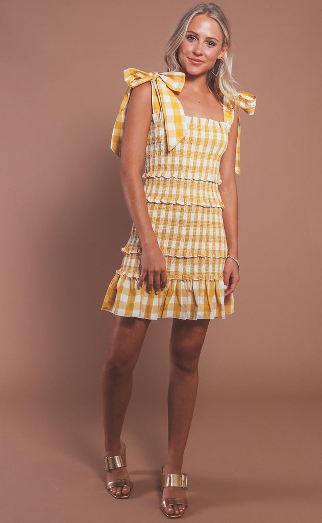here comes the sun smocked dress