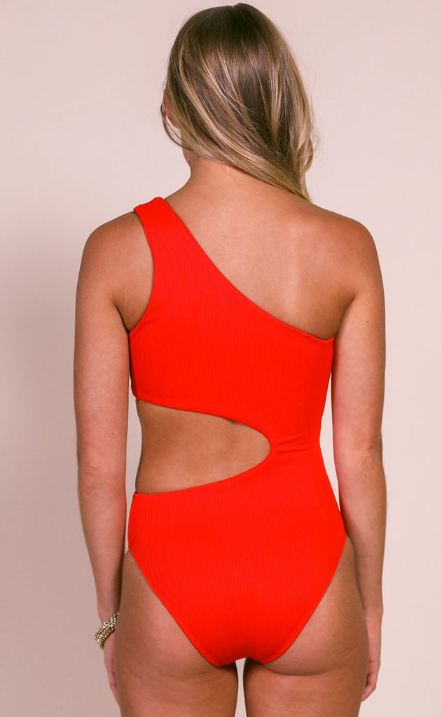beach riot: celine one piece swimsuit - red