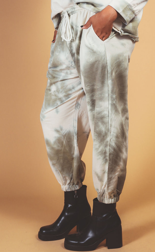head in the clouds tie dye sweat pant olive - extended