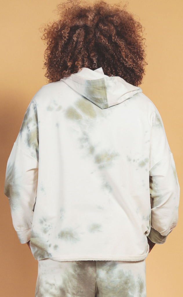 head in the cloud tie dye hoodie olive - extended