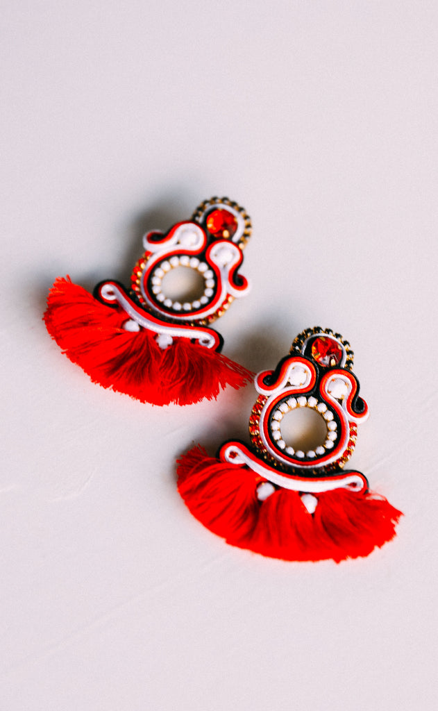 bekah earrings - red