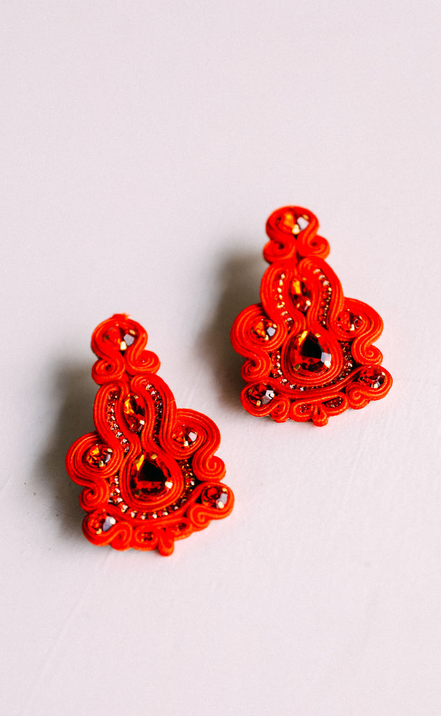 jane earrings - red