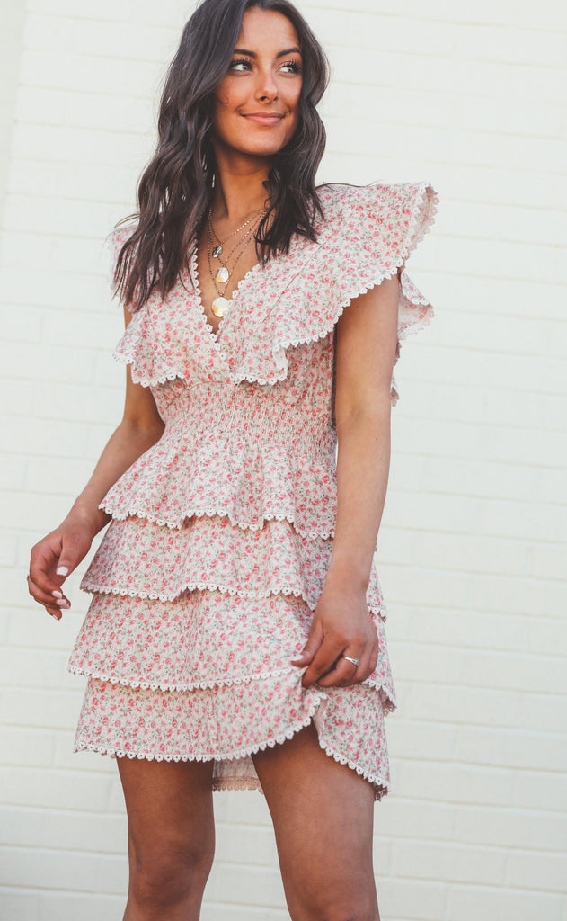 show me your mumu: sweet ruffle mini dress - little rose floral