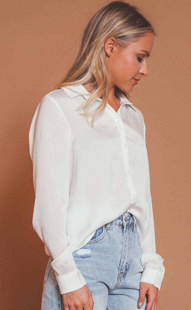 sleek as can be button up blouse - ivory