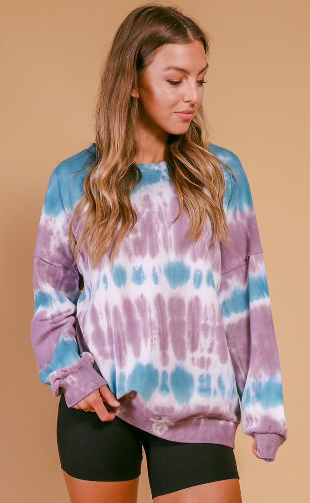 late night long sleeve tie dye tee - mauve teal