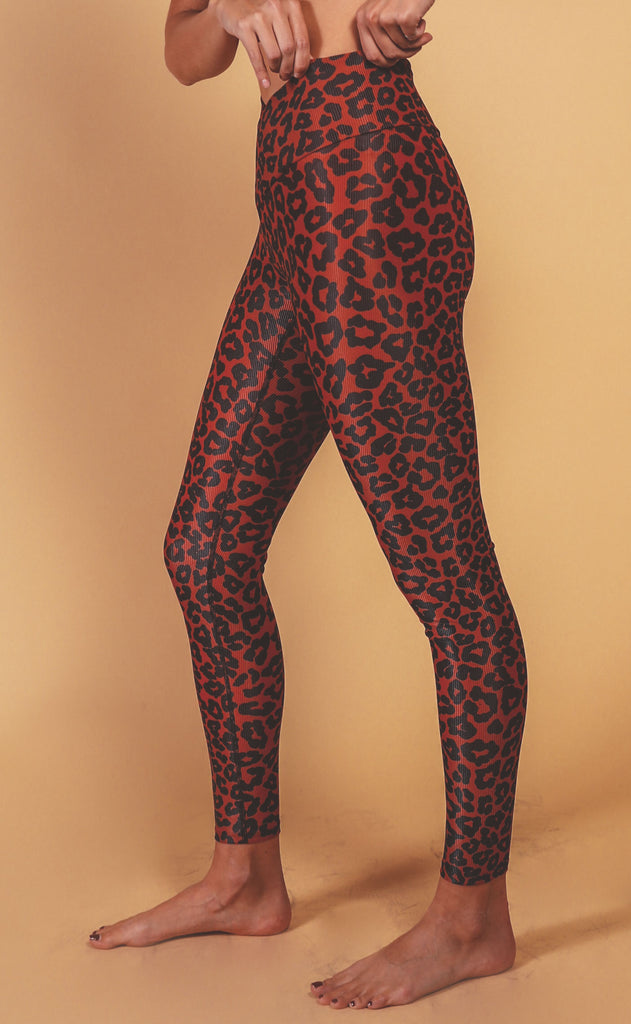 beach riot: cara ribbed legging - wine leopard print