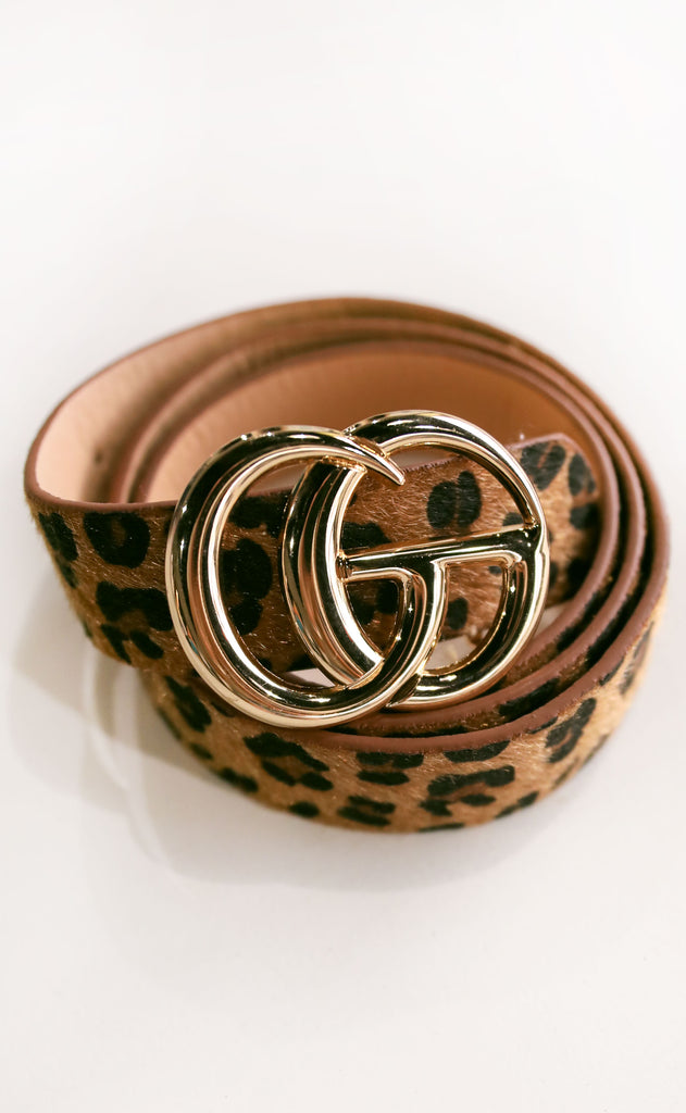 double circle belt - leopard