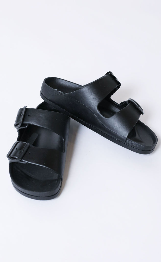 to the pool buckle slide - black