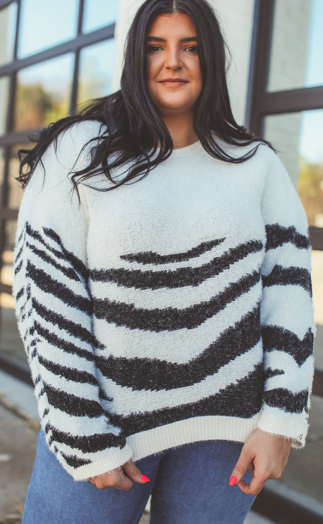 walk on the wild side knit sweater cream - extended