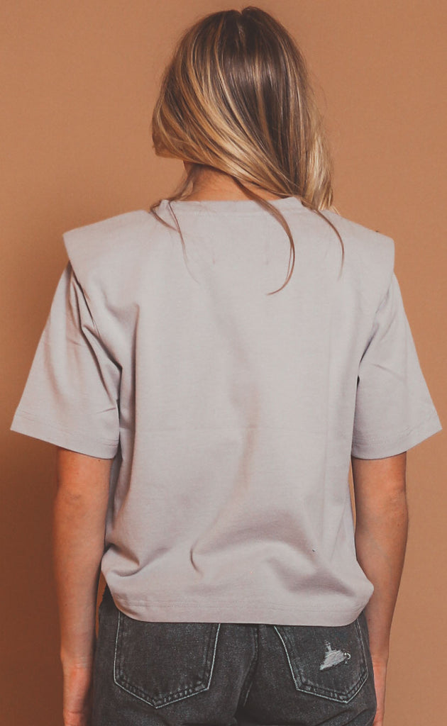 pistola: brileigh shoulder pad pleat tee - bark