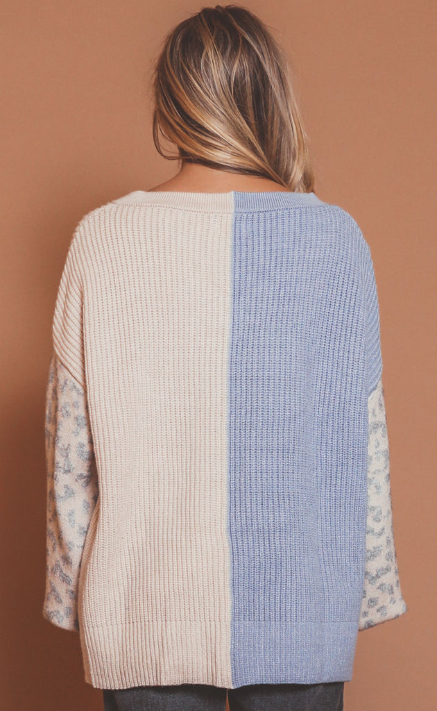 out to play colorblocked sweater - dusty blue