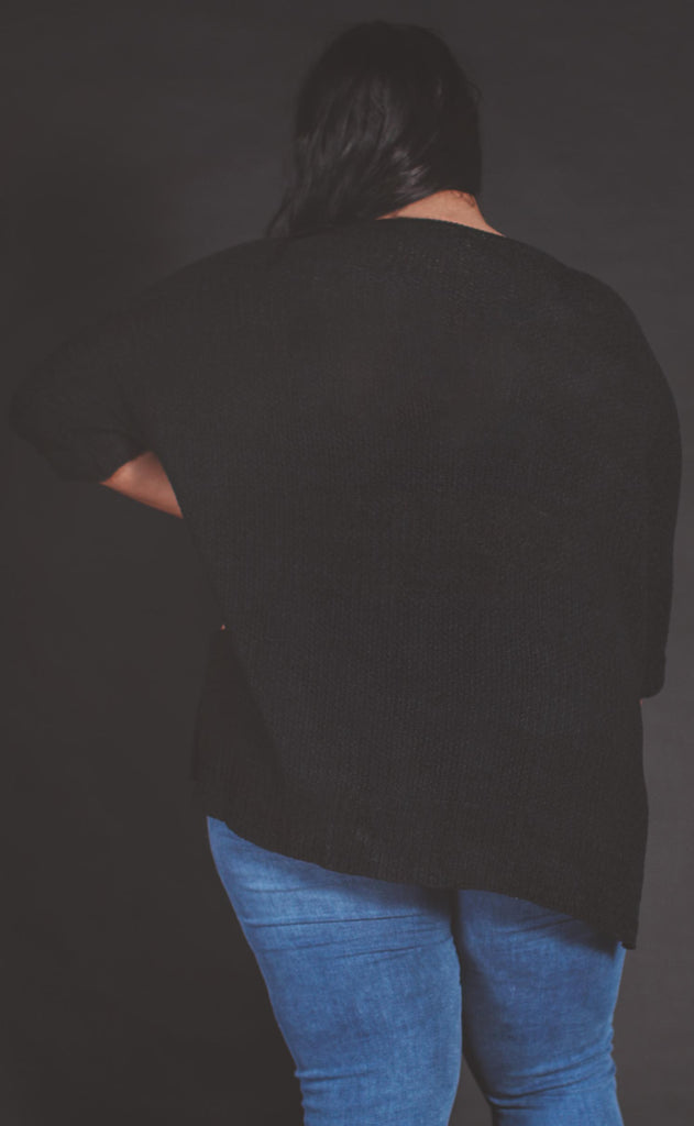 versatile knit sweater black - extended