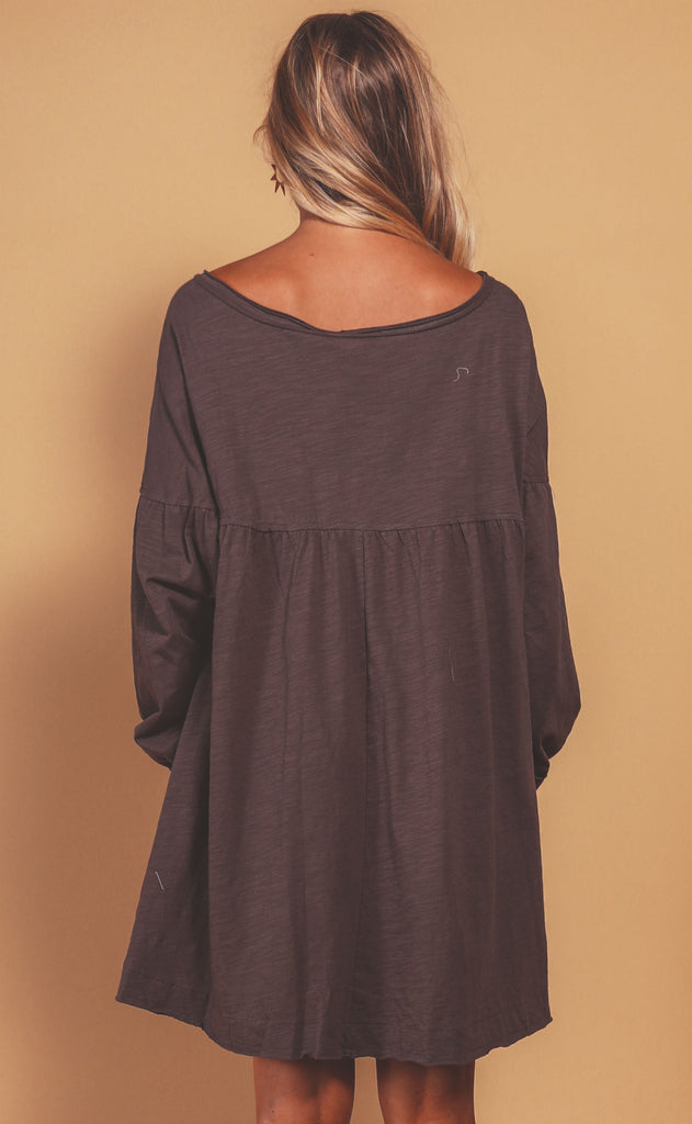 coffee date flowy dress - cappuccino