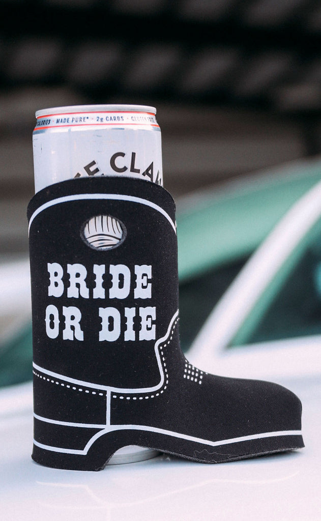 friday + saturday: cowboy boot drink sleeve - bride or die [set of 4]