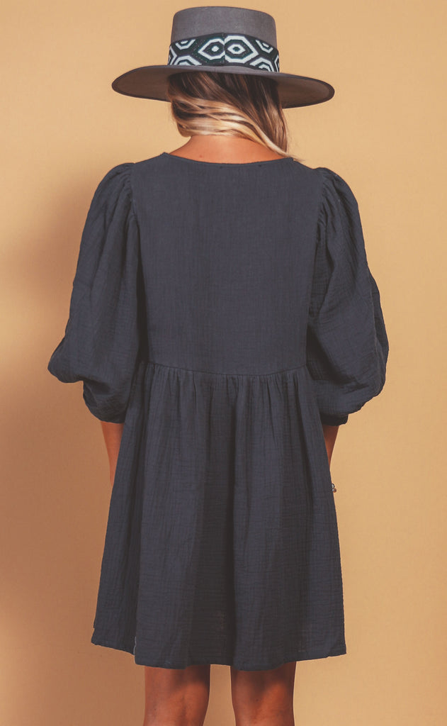 casual chic babydoll dress - navy